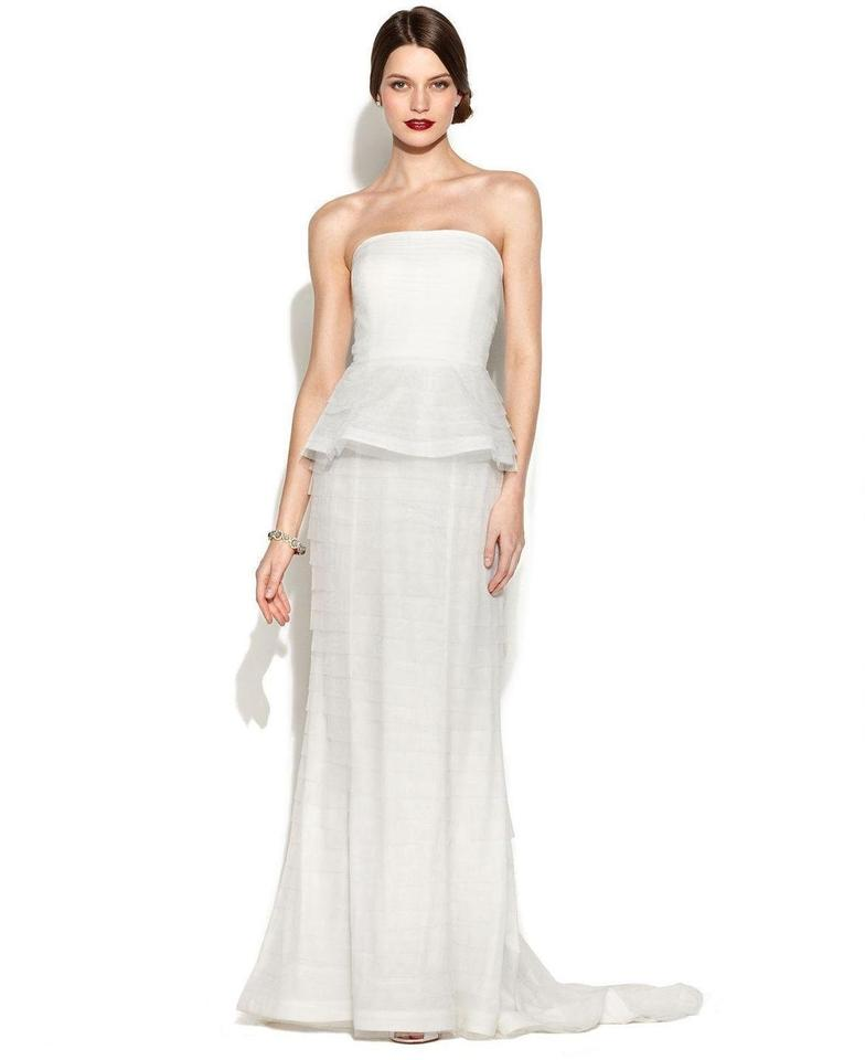 Adrianna papell ivory strapless tiered peplum gown for Wedding dresses for size 16
