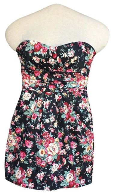Item - Floral Strapless Above Knee Cocktail Dress Size 4 (S)