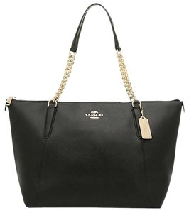 Coach Leather Zip Tote in Black