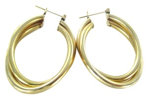 14KT YELLOW GOLD EARRINGS HOOP LARGE 7.3 GRAMS FINE JEWELRY JEWEL SMALL DENT