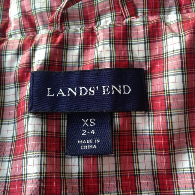 Lands' End Puffy Down Puffy Jacket Plaid Coat