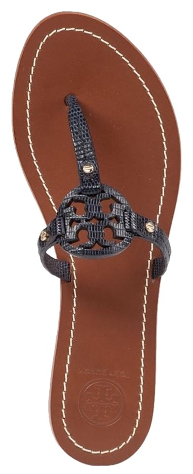 Tory Burch Blue Mini Miller Flat Navy Thong Leather Snake Embossed Navy Flat Sandals 169d6c