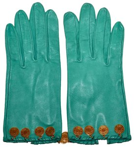 Hermès Paris Mint Green Lambskin Leather Gloves with Gold Details Size 6.5