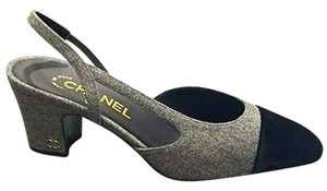 Chanel Tweed Velvet Slingbacks Grey Pumps