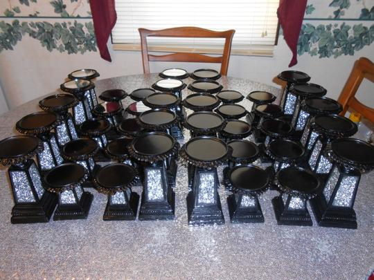 "Ten Sets Of Black Mosaic Candlesticks 7"" And 4"""