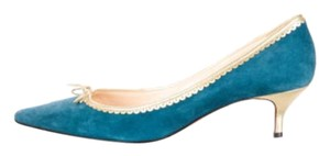 Christian Louboutin Suede Red Soles Pointed Toe Blue-Green Pumps