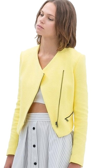 Item - Bright Yellow Asymmetrical Zip Tweed Cropped Jacket Size 8 (M)