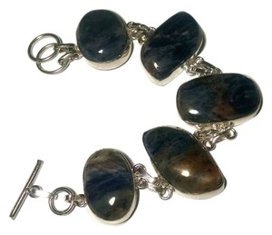 New Sodalite Gemstone Bracelet 8 Inch Toggle Set 925 Silver J551