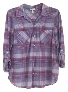 Joie Plaid Button Down Shirt White, Red, Purple