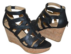 Nine West Black Cork Wedge Sandals