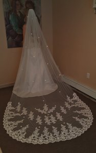 Luxury Lace Cathedral Veil With Comb Light Ivory
