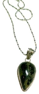 Jasper Gemstone Pendant Necklace Green Black 925 Silver J550
