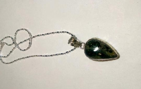 Other Jasper Gemstone Pendant Necklace Green Black 925 Silver J550