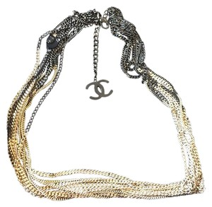 Chanel Necklace Two Toned Silver Black Multi Chain Necklace