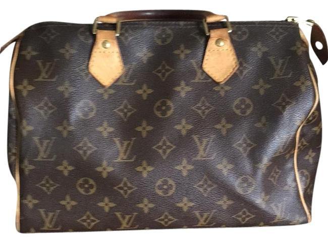 Item - Speedy 25 Tan Brown and Gold Leather Satchel