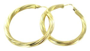 18KT YELLOW GOLD EARRINGS HOOP TWISTED 4.9 GRAMS FINE JEWELRY JEWEL WOMAN KARAT