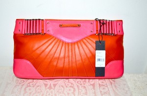 Rebecca Minkoff Leather NEON Pink and Coral Clutch