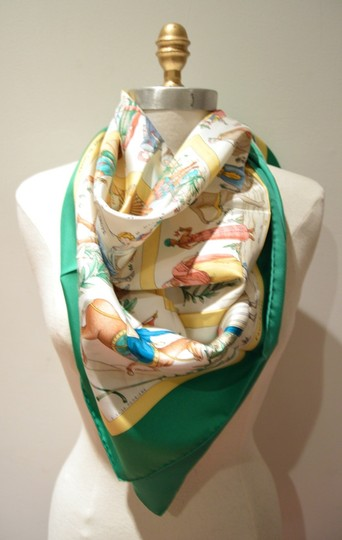 Hermès Authentic Hermes Costumes Civils Actuels Silk Scarf In Green