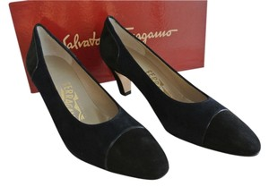 Salvatore Ferragamo Party Navy Suede and Black Suede Pumps