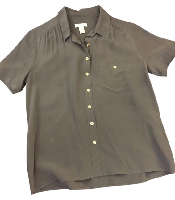 J.Crew Silk Office Top dark green