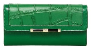 Diane von Furstenberg Diane von Furstenberg Flap Embossed Croc Leather Wallet In Emerald $198