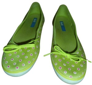 Keds Women's Rubber Sole Slip On Canvas Lime green w/pink & white polka dots Flats