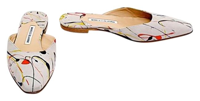 Item - Grey with Multi Color Red Yellow Blue Paint Splatter Suede Euro 38 Mules/Slides Size US 8 Regular (M, B)