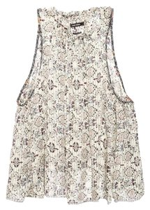 Isabel Marant Top Cream, Deep Red, Gray Blue and black Floral Pattern