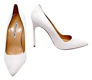 Manolo Blahnik White Suede Pumps