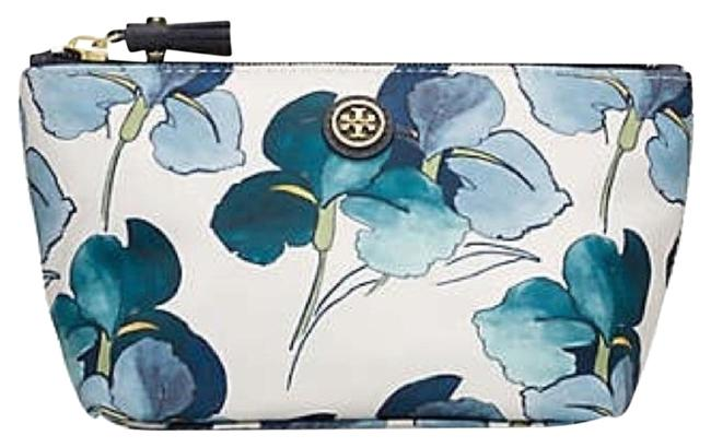 Item - White Printed Trapeze Persica Floral Blue Cosmetic Bag