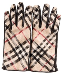 Burberry Black leather Burberry Nova Check print gloves S Small