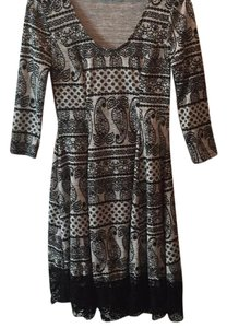 Altar'd State short dress Black and grey paisley pattern with lace detail on Tradesy