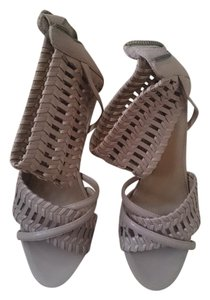 B. Makowsky Braided Ankle Strap Wedge Natural Sandals