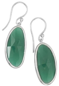 Sterling Collections Rhodium Plated Sterling Silver Green Onyx Earrings