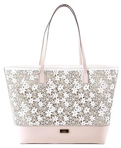 Kate Spade Leather Tote in white/blush pink