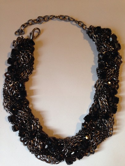 Other Black Chain Tangled Statement Necklace