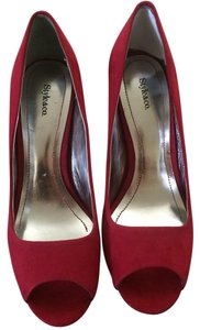 Style & Co Open Toe Pump Suede Red Pumps