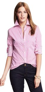 Banana Republic Striped Button Down Shirt Pink and White