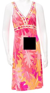 Emilio Pucci Sleeveless Silk V-neck Print Dress