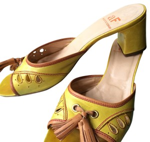 Alberto Fermani Yellow, Tan Mules