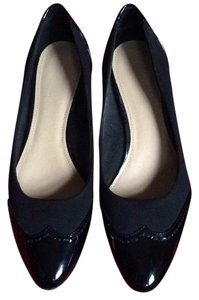 Circa Joan & David Black (Patent Leather & Fabric) Wedges
