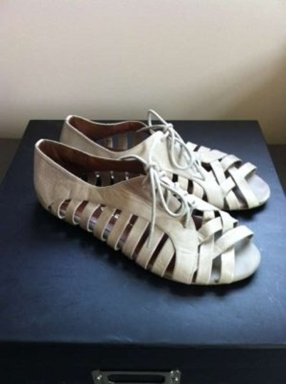 Jeffrey Campbell Lace-up Oxford Gladiator Sandal Hoyt Light Gray Flats