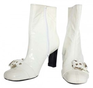 Stuart Weitzman Mod Patent Leather White Boots