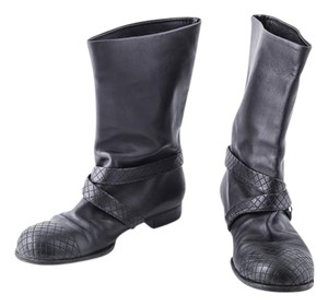 Chanel Leather/quilted Cap Toe black Boots