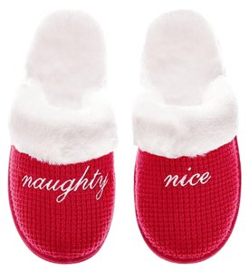 Victoria's Secret Cozy Slipper Vs Faux Fur Red Flats