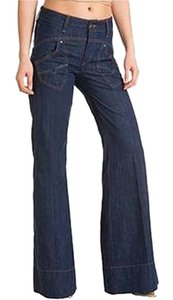 Guess 70's High Waist Denim Trouser/Wide Leg Jeans-Dark Rinse