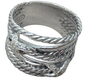 David Yurman New with Pouch Crossover 2 diamond X Ring size 81/2