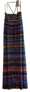 Multi color, navy, yellow, orange, turquois... Maxi Dress by BCBGMAXAZRIA