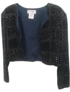 Adrianna Papell Velvet Beaded Sequin Top Navy Blue