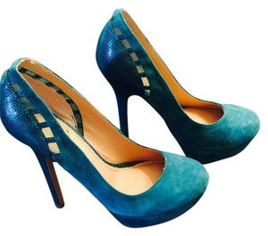 Colin Stuart Platform Pump Teal Pumps
